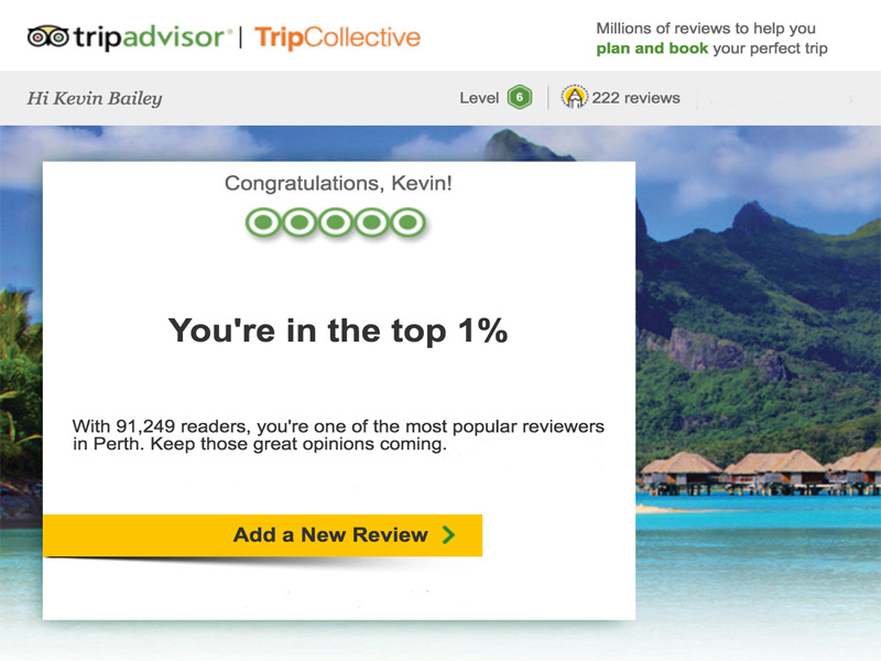 TRIP ADVISOR the walking critic top 1%