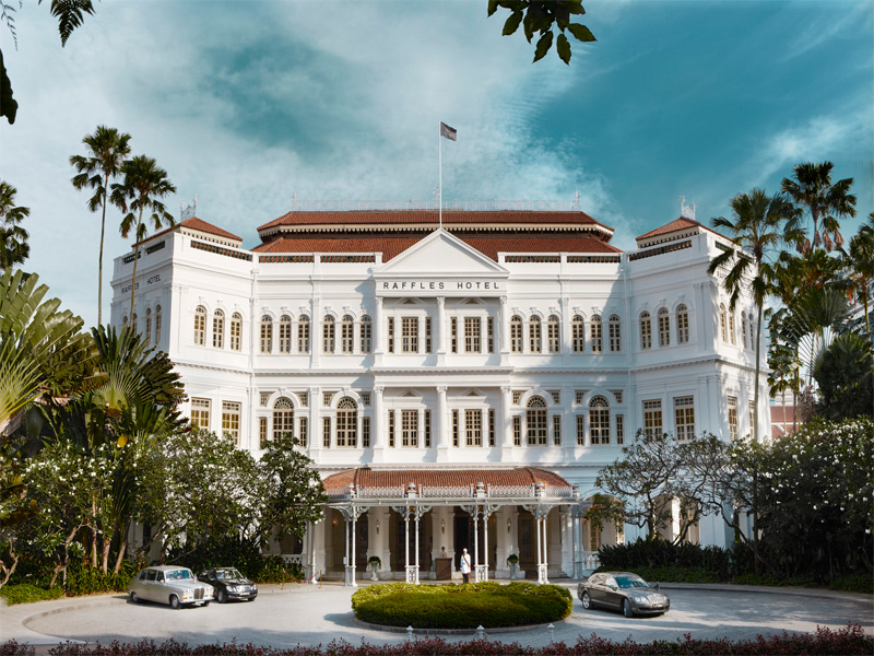 Raffles Hotel Singapore front facade along Beach Road