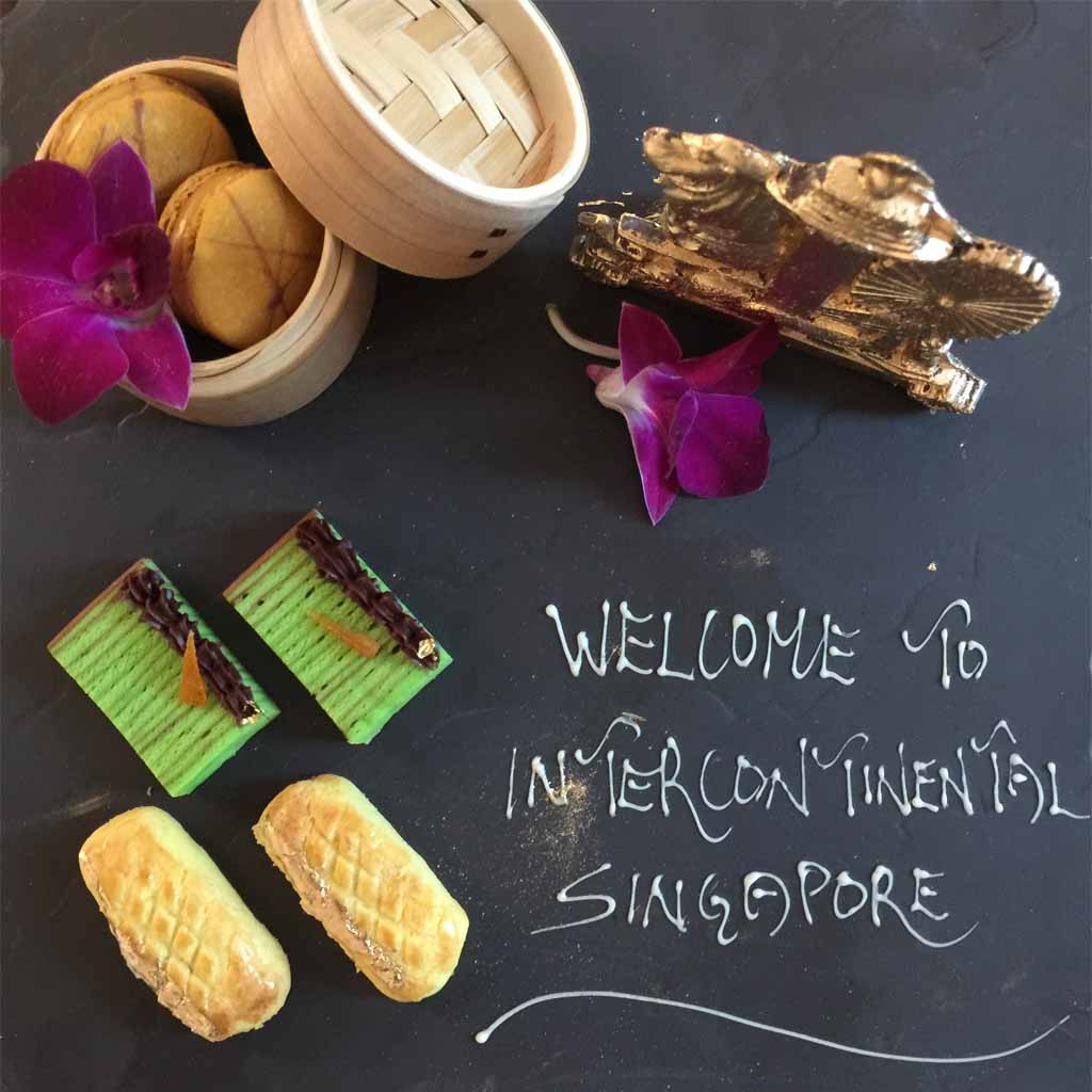 INTERCONTINENTAL HOTEL welcome slate pastries