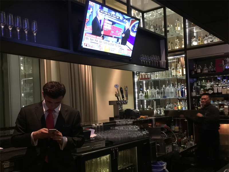 INTERCONTINENTAL SAN FRANCISCO Bar 888 election night too close to call