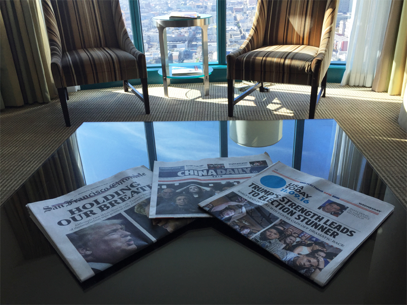 INTERCONTINENTAL SAN FRANCISCO coffee table newspaper headlines Trump wins