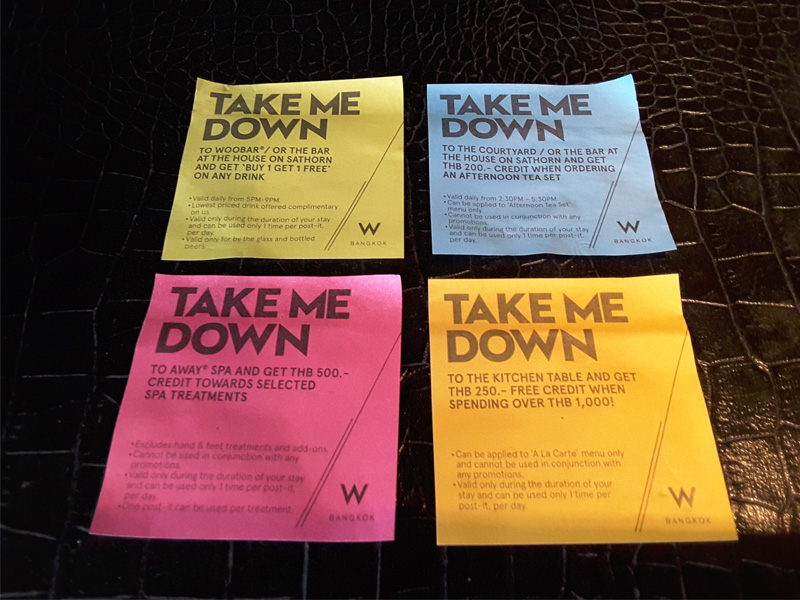 W BANGKOK HOTEL REVIEW-post-it-note-coupons