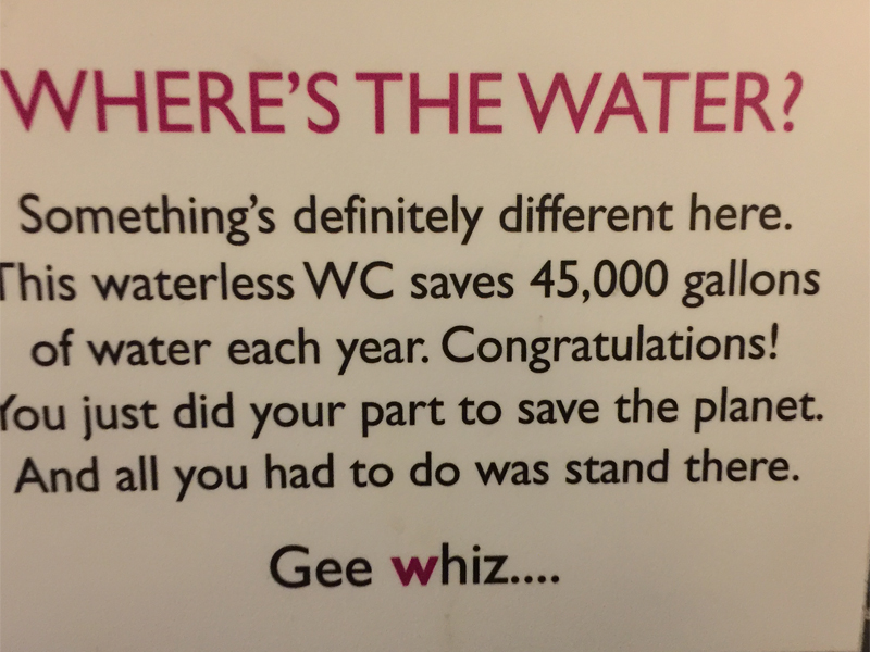 W HOTEL eco friendly water sign