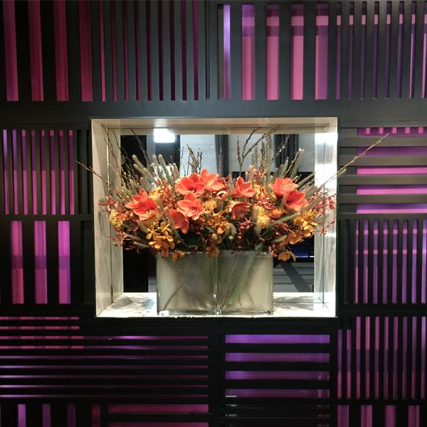 W HOTEL elevator corridor wall purple