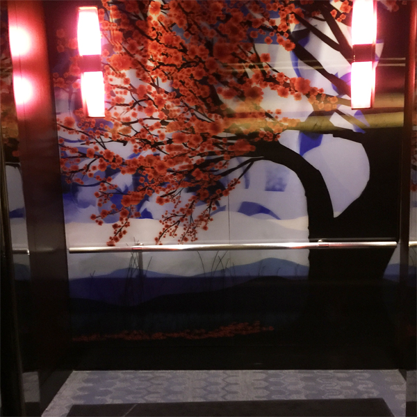 W HOTEL inside the elevator cherry tree mural